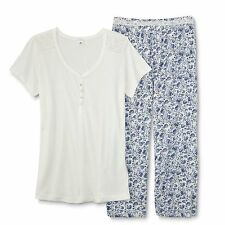 Womens Pajama Top Capri Pants Blue White Paisley Size XL