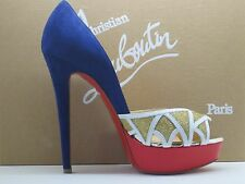 $995 Christian Louboutin EKAIA  140 Suede Glitter Platform Pumps Shoes 39 / 8.5