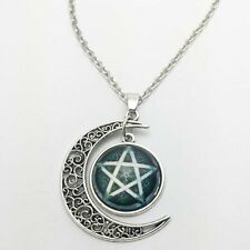 Vintage Star Cabochon Silver plated chain necklace pendants Moon pendant,new