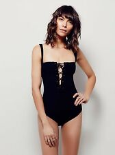 Intimately Free People Philo Lace-Up Bodysuit in Black - sz Small NEW NWT $58