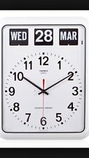 TWEMCO Quartz Retro Modern Germany Movement Calendar Flip Wall Clock BQ12 White