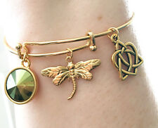 Outlander 22 KT Gold Dragonfly Celtic Knot Heart Charm Bracelet Scottish Irish