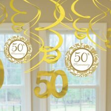 50TH GOLDEN WEDDING ANNIVERSARY PACK OF 12 SWIRL DECORATIONS