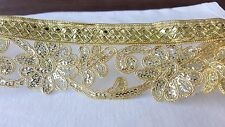 6cm- 1 meter Gorgeous gold sequins floral embroidered lace trimming for crafts