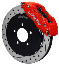 "WILWOOD DISC BRAKE KIT,FRONT,05-13 MAZDA 3,13"" DRILLED ROTORS,6 PISTON RED CALIP"