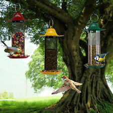 3 Colours Finch Bird Feeder Wild Hanging Seed Metal Container Yellow/Red/Green