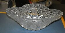 VINTAGE ANTIQUE AMERICAN BRILLIANT PERIOD HAND CUT GLASS BOAT BOWL APB FLOWERS