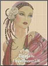 Counted Cross Stitch ART DECO LADY Pink Dress/Yellow Roses COMPLETE KIT #1-48