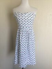 Old Navy size 12 white gauze tube dress strapless blue flowers