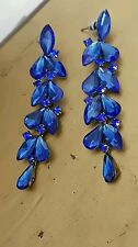 "3""Crystal Stones Teardrop dangle Royal Blue Earrings drag queen beauty pageant"