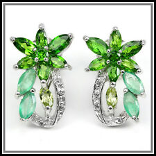 NATURAL EMERALD, CHROME DIOPSIDE, PERIDOT & CZ STERLING 925 SILVER EARRING