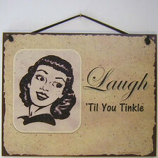 Sign Laugh ing Till You Tinkle Funny Towl Bathroom Decor Bar Picture Vintage