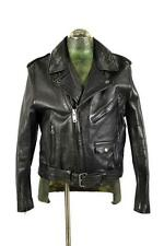 vintage mens black OUTDOOR EXCHANGE leather motorcycle biker moto jacket SMALL