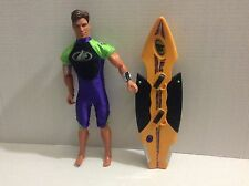 "MAX STEEL SURF ATTACK AND TURBO BOARD 12"" FIGURE MATTEL USED"