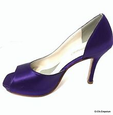 Michaelangelo Michele 8 M Purple Satin Open Peep Toe Heels Pumps Davids Bridal
