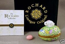 NEW ORIGINAL BOX ROCHARD FRENCH LIMOGES BOX CUTE BUNNY RABBIT ON EASTER EGG