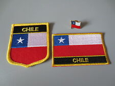 Set of  Embroidery Flag Patch and Badge shield Patch and Lapel pin CHILE