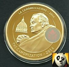 LARGE 50mm Pope John Paul 2014 Canonization Proof Medal Gold Plated & Hologram