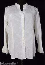 Nomadic Traders White Cotton Embroidered Floral V-Neck Button Front Top Sz L NWT