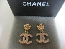 Authentic CHANEL CC pierced Dangling  earrings  (Camellia-stones CC)