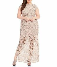 NWT Brianna Champagne Cap Sleeve Sequin Lace Gown Mother of the Bride Dress 20W