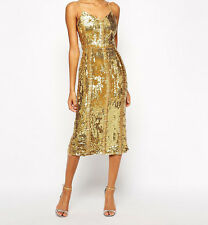 Virgos Lounge Honor Allover Sequin Midi Dress - (J) - Gold - RRP £190 UK12