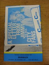 19/11/1977 Cardiff City v Burnley [With Advertising Leaflet As Issued] (no appar