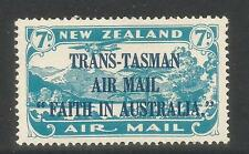 New Zealand 1934 Trans-Tasman 7p blue Airmail--Attractive Topical (C5) MH