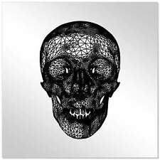 10cm 'Wire Frame Skull' Decorative Acrylic Mirror Tile (MT00009536)