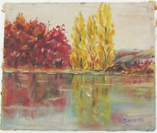 VINTAGE FALL FOLIAGE BY THE LAKE IMPRESSIONIST OIL PAINTING Artist C. Chambers