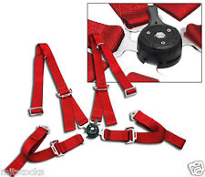 1 RED 4 POINT CAMLOCK QUICK RELEASE RACING SEAT BELT HARNESS CHEVROLET *****