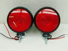 """4"""" HD ROUND RED RUBBER TRACTOR FENDER/ TRAILER TAIL LIGHTS STOP TURN TAIL######Q"""