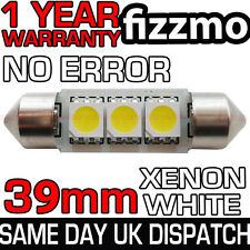 3 SMD LED 39mm 239 272 CANBUS NO ERROR XENON WHITE NUMBER PLATE LIGHT BULB