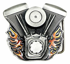 Flaming V Twin Bike Motorcycle Engine Belt Buckle Bergamot Branded Product