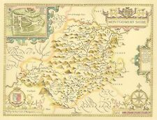 Montgomeryshire FULL SIZE PRINTED Replica 17c John Speed Old map Unique gift!!