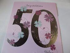 """Precioso """"Felicidades 50 hoy"""" tarjeta de saludos de cumpleaños Gratis P&P."""