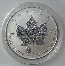 2016 canadienne 1 oz silver maple leaf Yin Yang privé.9999 silver bullion coin