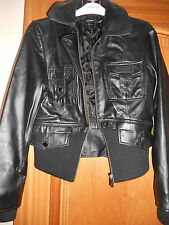 In Wear Sheepskin Leather Short Jacket Size UK 10 With Ribbed Hem & Cuffs