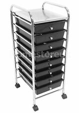 8 TIER BLACK PLASTIC DRAWER UNIT TROLLEY CART KITCHEN HOME OFFICE HAIR SALOON 42