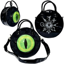Kreepsville 666 Green Cats Eye Black Fur Eyeball Horror Hex Witches Handbag