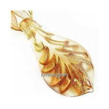 Brown Gold Foil Leaf Lampwork Murano Glass Bead Pendant Ribbon Necklace Cord