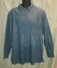 New York World Trade Center Observation Deck Blue Denim Jean Shirt L/S 90's XL