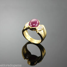 1.50 CT. LONG BAGUETTE DIAMOND & RUBY COCKTAIL RING 18K SOLID YELLOW GOLD US 6.5