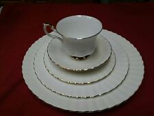 Vintage Royal Albert Bone China VAL D'or Place Setting White Gold Trim England