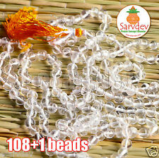 4mm 100% Original Sphatik (Quartz Crystal) Mala Roasary 108+1 Bead Clear Quality