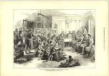1877 ropa de distribución de guerra Rusia Turquía turco refugiados Grabado
