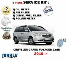 FOR CHRYSLER GRAND VOYAGER 2.8DT 2010-  OIL AIR FUEL POLLEN 4 FILTER SERVICE KIT