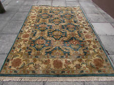 Old Hand Made Natural Dye Indian Wool Blue Green Ziegler Rug 286x193cm