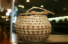 Hand Made Native American Woven Coil Basket w/ Lid & Handle~Northwestern~Alaska