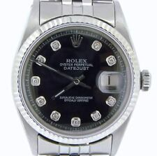 Rolex Datejust Mens Stainless Steel Watch Jubilee w/ Black Diamond Dial 1601